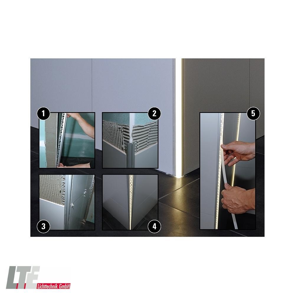 led profil ev 02 08 fliesen profil ecke au en f r 8 9 3mm led stripes 1250mm aluminium. Black Bedroom Furniture Sets. Home Design Ideas